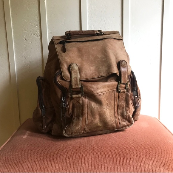 d3460ce8bb6 Vintage 80s Brown Leather Oversized Backpack